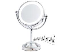 miroir grossissant a pied pour maquillage 2 faces grossissement x5 avec haut parleur sans fil bluetooth intégré