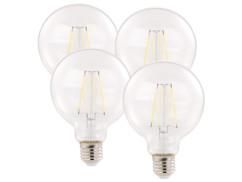 Pack 4 ampoules LED à filament E27 806 lm 360° A++ 6 W - blanc lumière du jour