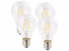 Pack 4 ampoules LED à filament format goutte E27 4W 470 lm 360° -  blanc chaud
