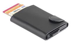 portefeuille en faux cuir avec boitier en aluminium rfid anti hacking piratage carte bleue payement sans contact