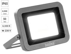 projecteur led haut efficacité energetique 50w blanc froid étanche pluie et neige fixation murale luminea