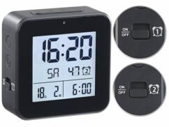 montre réveil double alarme avec thermomètre et hygromètre