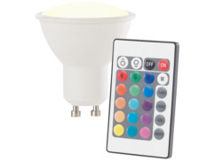 spot led gu10 rgb multicolore avec télécommande 16 couleurs intensité variable lunartec