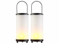 2 lanternes solaires à LED avec 96 LED effet flamme