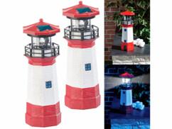 2 phares décoratifs solaires avec LED - 27 cm