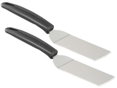 2 spatules dentées en acier inoxydable pour poêle et barbecue