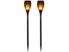 2 torches de jardin 64 LED avec effet flamme et batterie 2000 mAh