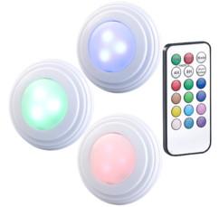 set de 3 spots autoadhesifs led rvb rgb couleur avec telecommande pour meubles et déco