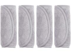 Lot de 4 gants de toilette en microfibres.
