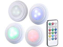 4 spots à LED COB RVB/blanc pour meubles de cuisine avec télécommande et minuterie