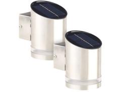 2 appliques solaires à LED 20 lm en acier inoxydable