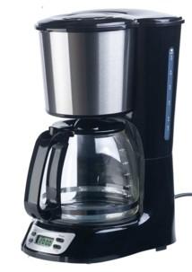 cafetière électrique à filtre avec programmateur jusqu'à 24h et plaque de maintien au chaud pour 12 tasses de café kf315