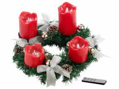 Couronne de l'Avent avec ornements argenté & 4 bougies à LED