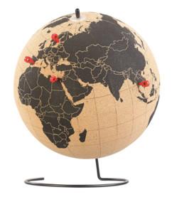 Globe en liège rotatif avec 15épingles de marquage, Ø 25cm