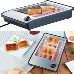 grille pain toaster horizontal ouvert pour cuisson du pain de mie pain entier tranche petit déjeuner