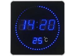 Horloge murale radio-pilotée à LED bleues et affichage de la température.