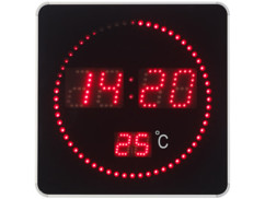 Horloge murale radio-pilotée Lunartec avec grand affichage LED.
