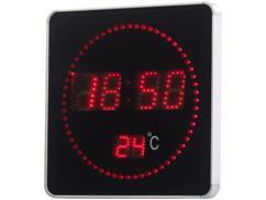 Horloge murale radio-pilotée à LED rouges et affichage de la température