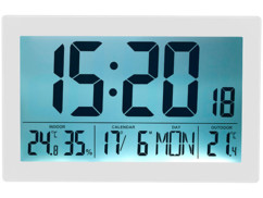 Horloge radio-pilotée XL avec thermo-hygromètre et capteur extérieur.
