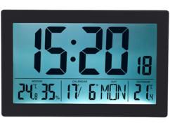 Horloge radio-pilotée XL noire avec thermo-hygromètre et capteur extérieur.