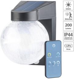 Lampe murale solaire à LED en verre craquelé avec détecteur de mouvement
