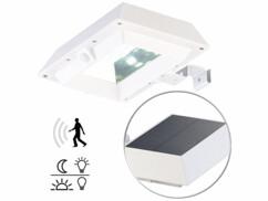 Lampe solaire à LED 6 W pour mur et gouttière avec capteur PIR - Blanc