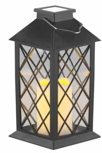 Lanterne de jardin solaire avec bougie décorative LED effet flamme à poser ou à suspendre
