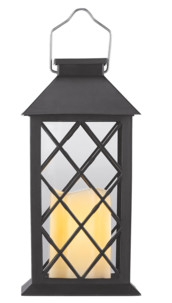 Lanterne de jardin solaire avec bougie décorative à LED effet flamme, capteur d'obscurité