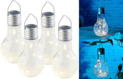 Lot de 4 ampoules à LED décoratives aspect craquelé, avec chargement solaire