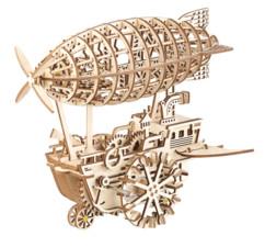 """Maquette 3D mobile en bois """"Dirigeable Steampunk"""" 25 x 30 cm - 349 pièces"""
