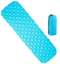 tapis de sol isolant bleu gonflable ultra legerpour camping trekking bivouac