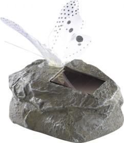 Papillon solaire à LED sur pierre artificielle - gris