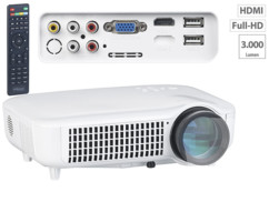 video projecteur professionnel led 3000 lumen full hd 1080p hdmi avec lecteur usb sorties cinch vga lb-9500 auvisio