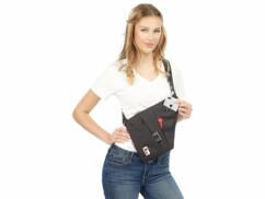 Sac bandoulière RFID/NFC à 3 compartiments, unisexe, coloris noir