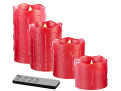 Set de 4 bougies LED en cire véritable - Rouge