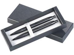 Stylo-bille et portemine à poussoir avec boîte de rangement