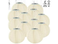 12 lampions solaires Ø 30 cm à LED blanc chaud - x6