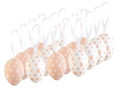 pack de 16 oeurs decoratifs en plastique peint a la main couleur rose et blanc pour paques