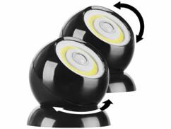 2 lampes sans fil 200 lm à LED COB et détecteur de mouvement WL-420 - Noir