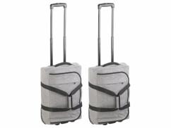 2 sacs de voyage pliables 44 L avec fonction trolley et poignée télescopique