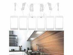 Lot de 6 panneaux lumineux avec capteur infrarouge pour cuisine, atelier, salle de bain, etc.