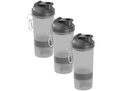 3 shakers spécial fitness 500 ml avec balle mélangeuse et compartiment à poudre