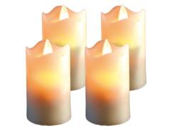 4 bougies à LED scintillante, cire véritable - 7,5 cm