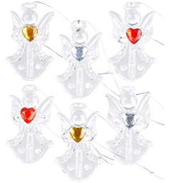 6 anges décoratifs en verre à suspendre avec cœurs colorés