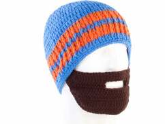 Bonnet avec barbe - Bleu / orange