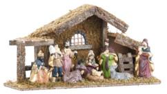 Crèche de Noël en bois avec figurines en porcelaine peintes à la main - Grande