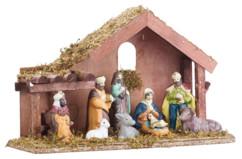 Crèche de Noël en bois avec figurines en porcelaine peintes à la main