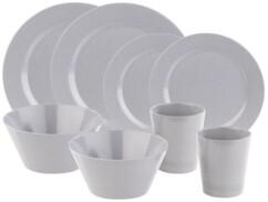 Ensemble de vaisselle 8 pièces en bambou mélaminé pour 2 personnes