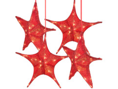 Lot de 4 étoiles de Noël pliables Ø 65 cm avec LED