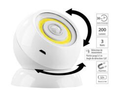 Lampe sans fil 200lm à LED COB et détecteur de mouvement WL-420 - Blanc